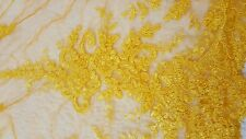 High Quality Beautiful Rich Yellow French Lace Fabric 1 yard.  CLEARANCE!!!