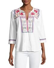 NWT JWLA Johnny Was Embroidered Peasant White Boho Tee Top Blouse XS 2 4