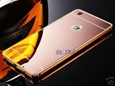 ALUMINIUM BUMPER METAL CHROME MIRROR BACK COVER CASE + TEMPERED GLASS FOR HUAWEI