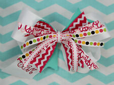 Personalized Embroidered Pink Chevron Turquoise Pinwheel White Hair Bow for Girl