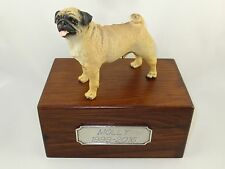 Beautiful Paulownia Small Wooden Personalized Urn With Fawn Pug Figurine