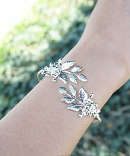 Leaf Bracelet Floral Silver Plated Goddess Adjustable Bangle Bracelet Arm Cuff