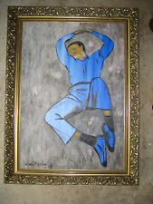 NAP TIME IN BLUE SUEDE, OIL ON CANVAS PAINTING- with WOOD FRAME - XYZ