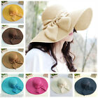 Summer Women Floppy Straw Hat Panama Bow Foldable Wide Brim Sun Beach Cap Fedora