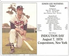 EDDIE MATHEWS 8x10 PHOTO Induction Day MILWAUKEE BRAVES Cooperstown Hall of Fame