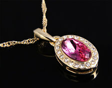 18K Yellow Gold Plated solid stunning pink cubic zirconia oval pendant 18ct