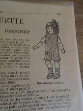 """PATRON ORIGINAL  POUPEE """" BLEUETTE """" COMBINAISON EN LAINE AU CROCHET SEP   1918"""