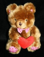 Floral Services Bear brown plush stuffed animal red heart feet bow tie small 6""