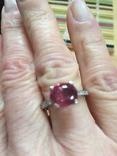 Vivid Pink Tourmaline Ring 18K White Gold with Diamonds