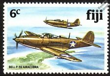 US Army BELL P-39 AIRACOBRA WWII War Aircraft Mint Stamp (1981 Fiji)