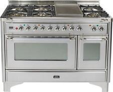 """Ilve UM120FDMPIX Majestic Series 48"""" Dual Fuel Gas Range 7 Burner Double Oven"""