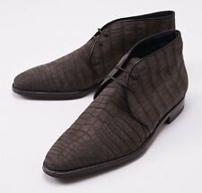 New $7990 BRIONI Mink-Lined Nubuck Suede Crocodile Ankle Boots US 11 D Shoes