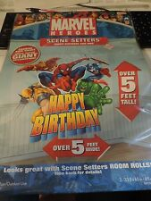Marvel Heros Scene Setter Happy Birthday add- ons - Over 5 feet wide
