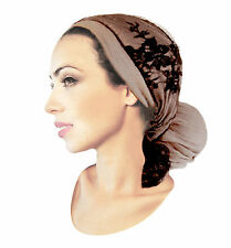 Taupe Brown Head Scarf Hair Snood Tichel Chemo Hat Pre-tied Bandana ShariRose
