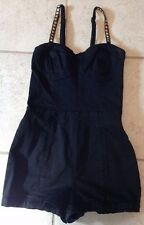 FOREVER 21 Exclusive Black Romper Sz M Stud Straps Gold Zippers Sexy Fashion