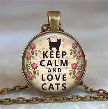Keep Calm and Love Cats necklace, cat lover gift, cat lover jewelry,cat Pendant