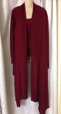Donna Karan Sweater Set Burgundy Top And Long Cardigan Size  PS