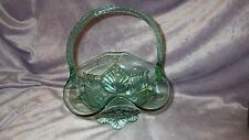 Fenton Glass Basket Mint Green embossed leaf design throughout twisted handle