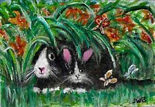 ACEO Original Art Painting Bunny, Kitten, Black & White Easter Rabbit,Tiger Lily