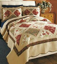 Beautiful New King-sized Floral Multi-Color Patchwork Quilt on Ivory Background