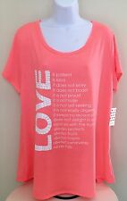 Women's Coral Plus Sz 2X Love Is Top Shirt Blouse Embellished Silver Sequins NWT