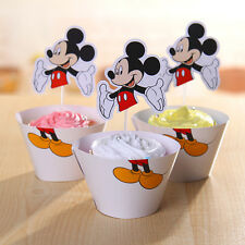 24Pcs Mickey Mouse Cupcake Wrapper & Topper Liner Cake Boys Birthday Decoration