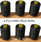 6 x Pure 100% Cotton Sewing Machine Thread 800M Large Black Spools / Reels