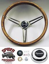 "1961-1966 Fury Valiant Belvedere steering wheel PLYMOUTH WALNUT 15"" Grant"