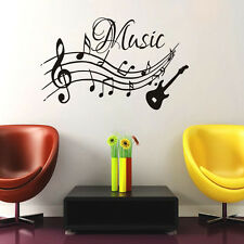 Musical Notes Music Wall Stickers Vinyl Removable Living Room Home Decor Guitar