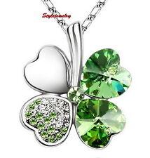 18k White Gold Plated Green Swarovski Crystal Four Leaf Clover Necklace N55