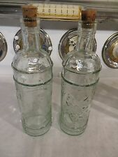 2 Green Tinted Glass Oil & Vinegar Bottles with Cork Stoppers