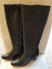 Hunt Club BLACK LEATHER tall knee high BOOTS side zip - size 9M - NEW!
