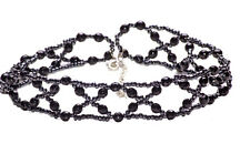 BLACK BEADED NECK CUFF CHOKER INTRICATE 'Cross My Heart'  GOTH SEXY(A10/ZX54/72)