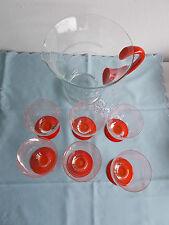 Saftservice Bowle set 6 Pers. Glas Art Deco oranger Fuß Griff Abriß Beschliffen