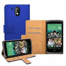 Wallet BLUE Leather Flip Case Cover Pouch For HTC Desire 526G Dual (+2 FILMS)