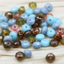 50pcs  3X5mm TURQOISE/TOPAZ PICASSO LUMI MIX GEMSTONE CUT CZECH GLASS BEADS