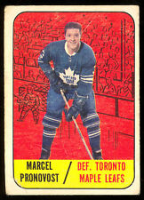 1967 68 TOPPS HOCKEY #81 MARCEL PRONOVOST VG TORONTO MAPLE LEAFS CARD