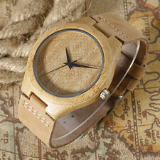 Casual Rhombus Nature Wood Bamboo Genuine Leather Strap Men Women Wrist Watch