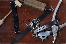 22mm Black Shell Cordovan Leather Watch Strap Band Handmade In Italy