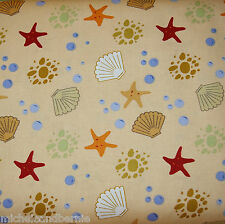 SEA SHELLS & STAR FISH 100% Cotton Quilt Fabric *by the 1/2 yard* BTHY