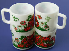 Set 4 MINT Tommy Love Conquers All Tiger Milk Glass Atlas Mugs Cups