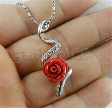 12mm Coral Red Carved Rose Flower Rhinestone Pendant Necklace