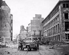 1945 WW2 Cologne Koln Germany US Army Jeep WWII Photo FL175