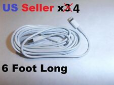 SET of 4 - LONG 6 foot 8 Pin USB Charger Cable Cord for Apple iPhone 5 5C 5S 6