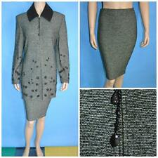 St John Collection Knits Green Jacket Skirt L 12 10 2pc Suit Suede Collar Leaves