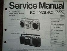 Panasonic RX-4922L radio cassette enregistreur service manual wiring parties diagramme