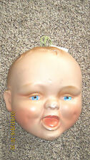 Vintage Baby Head  Painted Plaster Chalkware Wall Hanging Decor