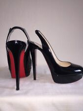 Christian Louboutin Bianca Slingback Black Patent Leather Stiletto Heel Sz 39.5