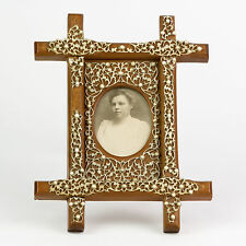 Antique Wood & Bone Filigree Picture Frame Quality ~ Lovely Detail