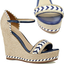 38 38.5 NEW $795 GUCCI Blue Raffia Tiffany ESPADRILLE Wedge RESORT SANDALS 8 8.5